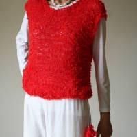 Sommerlicher Pulli aus Baumwolle in Rot, gestricktes Sommer-Top, Grobstrick Pullunder, Größe S-M Bild 3
