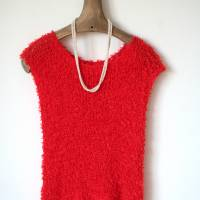 Sommerlicher Pulli aus Baumwolle in Rot, gestricktes Sommer-Top, Grobstrick Pullunder, Größe S-M Bild 5