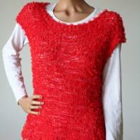 Sommerlicher Pulli aus Baumwolle in Rot, gestricktes Sommer-Top, Grobstrick Pullunder, Größe S-M Bild 6
