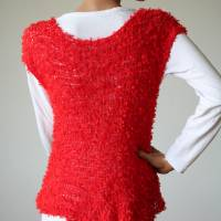Sommerlicher Pulli aus Baumwolle in Rot, gestricktes Sommer-Top, Grobstrick Pullunder, Größe S-M Bild 8