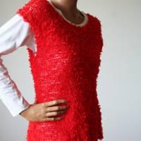 Sommerlicher Pulli aus Baumwolle in Rot, gestricktes Sommer-Top, Grobstrick Pullunder, Größe S-M Bild 9
