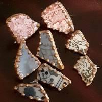 Porzellan Ohrstecker Ohringe Ohrhänger  leicht Upcycling Gold Porzellanschmuck Vintage Bild 10