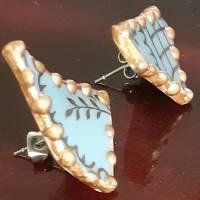 Porzellan Ohrstecker Ohringe Ohrhänger  leicht Upcycling Gold Porzellanschmuck Vintage Bild 7