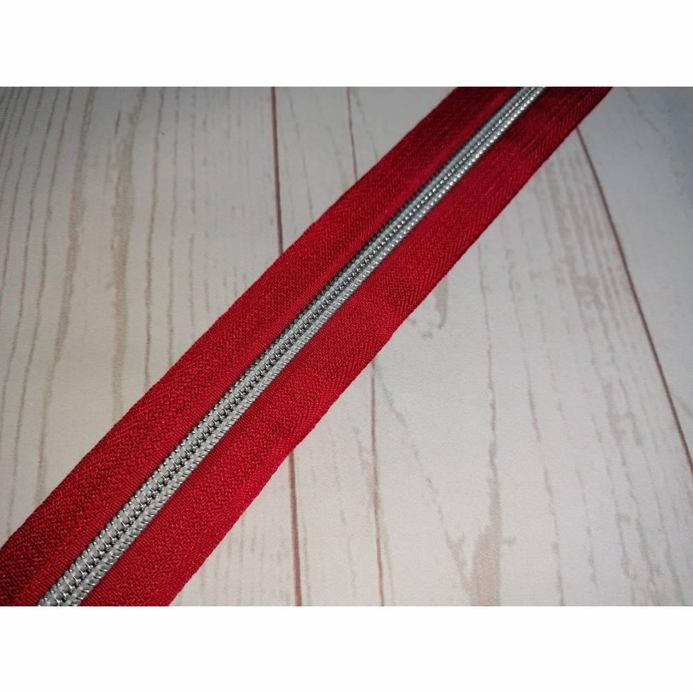 1m Endlosreissverschluss 5mm rot / silber Bild 1