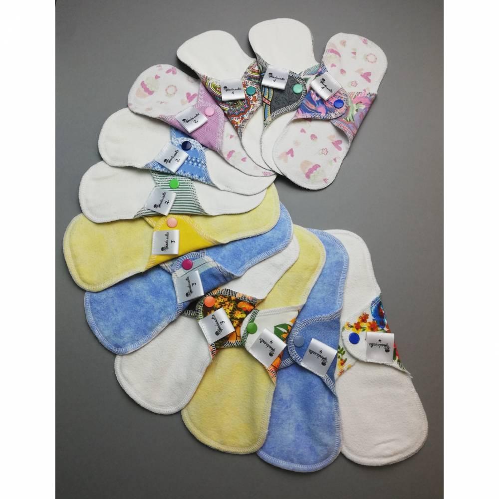 EINZELNE waschbare Slipeinlagen und Binden in 4 verschiedenen Stärken *Upcycling-Produkt*  Bild 1
