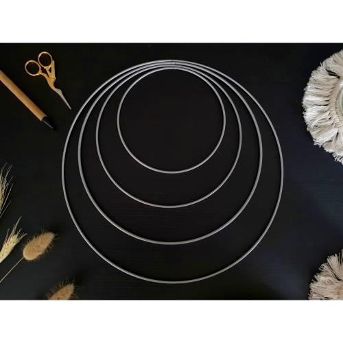 Metallringe silber Set 15/20/25/30cm für DIY Traumfänger, Makrameeprojekte und Blumenkränze