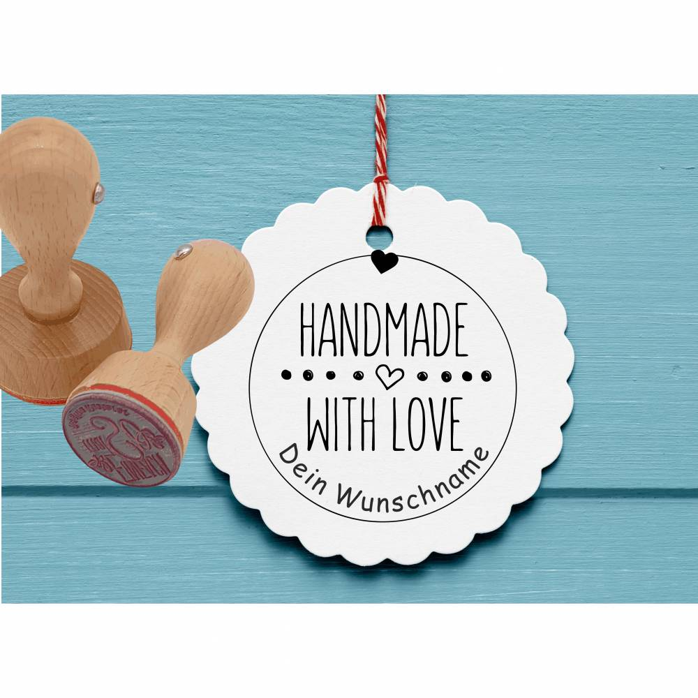 "Personalisierter Stempel ""Handmade with Love"" DIY Stempel ""Handmade with Love"" Ø 30/40mm Bild 1"