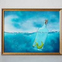 Die Froschenpost, Flaschenpost, Meer, Flasche, Froschbild, Originalbild, Acrylmalerei, Wellen Bild 1