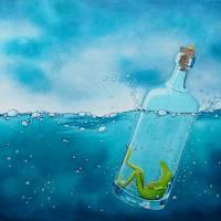 Die Froschenpost, Flaschenpost, Meer, Flasche, Froschbild, Originalbild, Acrylmalerei, Wellen Bild 2