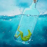 Die Froschenpost, Flaschenpost, Meer, Flasche, Froschbild, Originalbild, Acrylmalerei, Wellen Bild 3