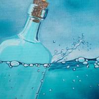 Die Froschenpost, Flaschenpost, Meer, Flasche, Froschbild, Originalbild, Acrylmalerei, Wellen Bild 4