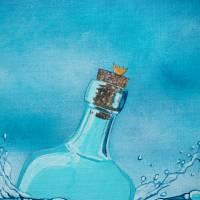 Die Froschenpost, Flaschenpost, Meer, Flasche, Froschbild, Originalbild, Acrylmalerei, Wellen Bild 5