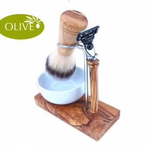Rasier-Set KLASSIK mit Rasierpinsel & Nassrasierer aus Olivenholz – Rasieren Männer Geschenk Holz Bild 1