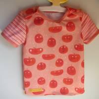 """Öko Baby Peach Boys T-shirt Top Motif Terrakotta und blaugrau Gr. 92 in anderen Größen zu bestellen """"Freche Früchtch Bild 1"""