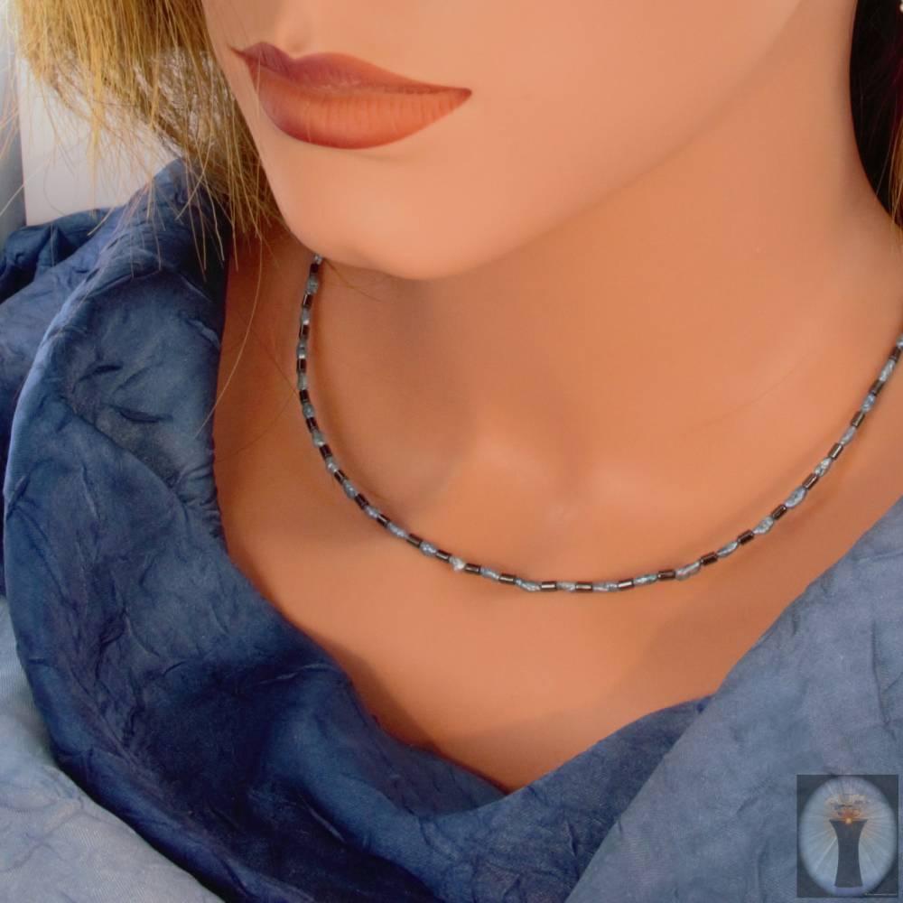 hellblau-anthrazit farbige Halskette, Hämatit mit Mabé-Perlen, zartes Halscollier 47 cm Bild 1