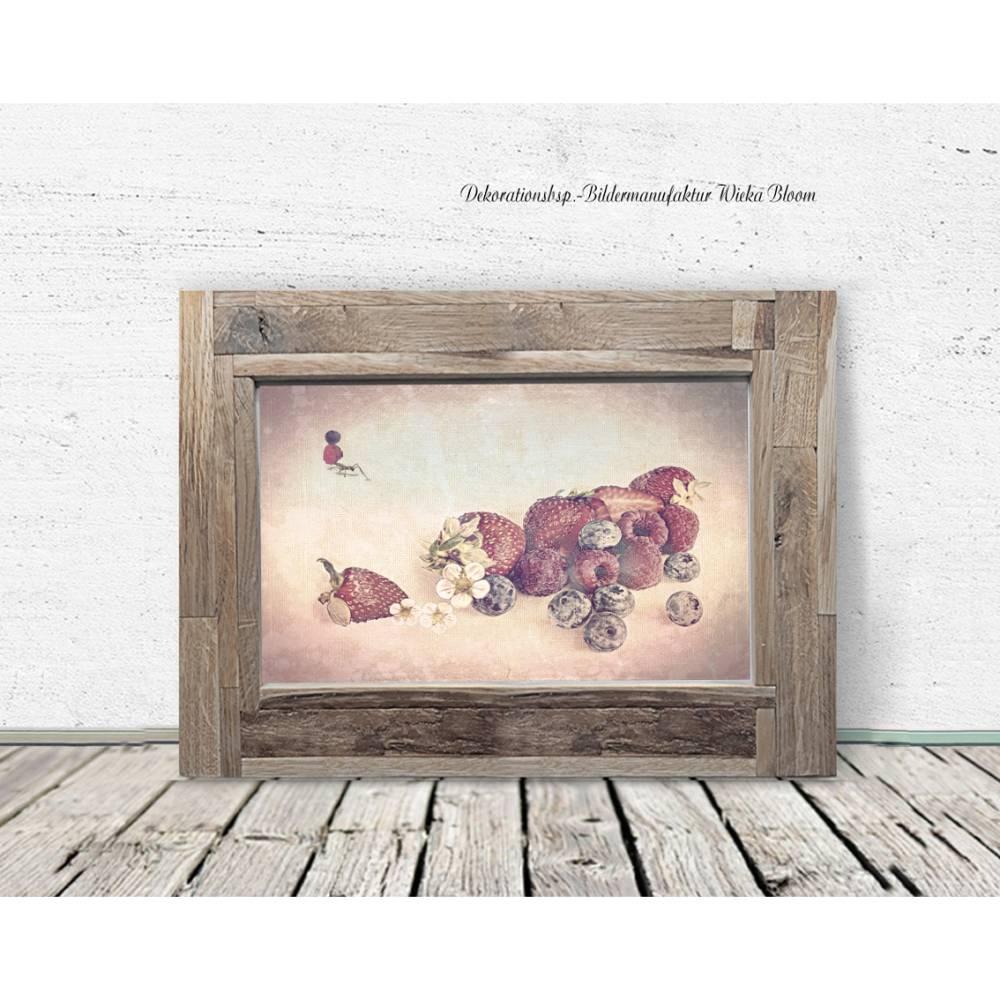 ERDBEEREN & AMEISE Bild auf Holz Leinwand Kunstdruck Wanddeko Landhausstil Vintage Style Shabby Chic Antik online kaufen Bild 1