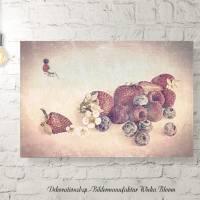ERDBEEREN & AMEISE Bild auf Holz Leinwand Kunstdruck Wanddeko Landhausstil Vintage Style Shabby Chic Antik online kaufen Bild 3