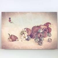 ERDBEEREN & AMEISE Bild auf Holz Leinwand Kunstdruck Wanddeko Landhausstil Vintage Style Shabby Chic Antik online kaufen Bild 5