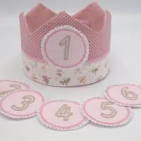 Geburtstagskrone mit wechselbaren Zahlen, rosa mit Schmetterlingen , plus Tasche Bild 1