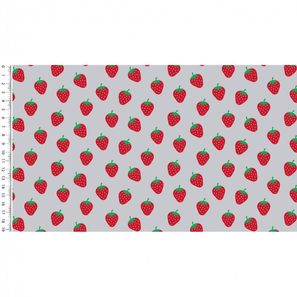 Baumwollstoff Popeline Erdbeeren – hellgrau - rote Erdbeeren auf hellgrau 1,50m Breite Frühlings Stoffe Bild 1