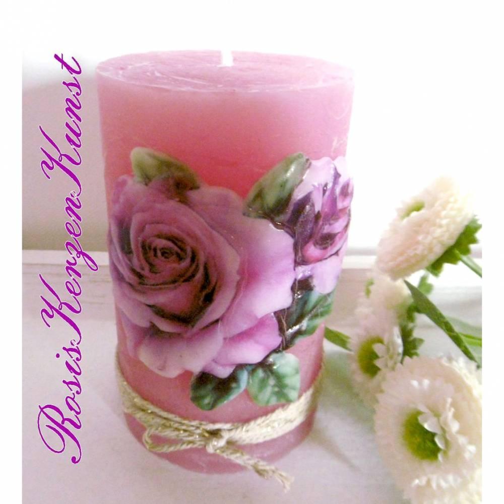 Wunderschöne Muttertagskerze ( Rustik-Kerze )  in rosa/lila  mit einem Rosenmotiv in Vollwachsauflage Bild 1