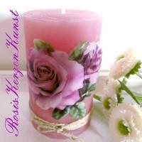 Wunderschöne Muttertagskerze ( Rustik-Kerze )  in rosa/lila  mit einem Rosenmotiv in Vollwachsauflage Bild 3