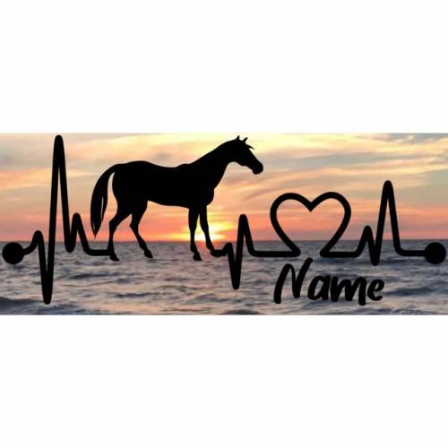 Aufkleber Herzlinie Heartbeat Pferd 2