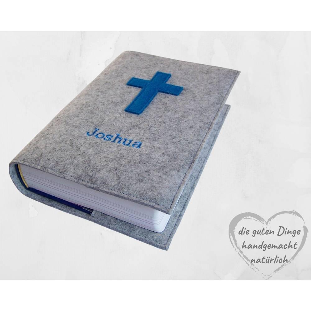 Gotteslobhülle Filz Kreuz NAME Einband Gesangbuch  personalisierbar Bild 1