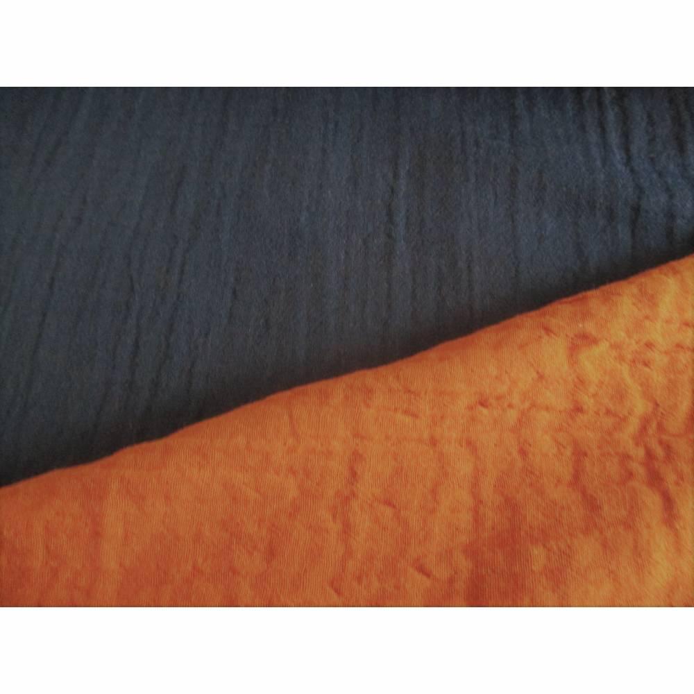 Musselin Double Gauze Baumwolle Double Face Rostbraun/Navy (1m/13,00 €) Bild 1