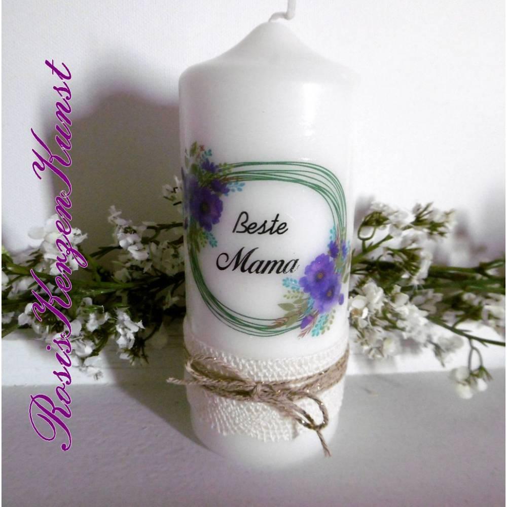 Wunderschöne Kerze zum  Muttertag im Vintage-Look mit Baumwollspitzenband und Lurexbaumwollkordel Bild 1
