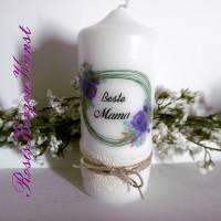 Wunderschöne Kerze zum  Muttertag im Vintage-Look mit Baumwollspitzenband und Lurexbaumwollkordel Bild 3