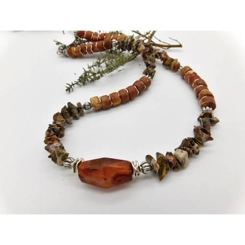 Halskette in Naturtönen mit antikem Karneol aus Afrika, Bauxit Rondelle, Leopardjaspis - 48cm