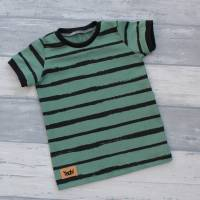 Kurzarm-Oberteil Jersey Stripes dusty mint Größe 92 Bild 1