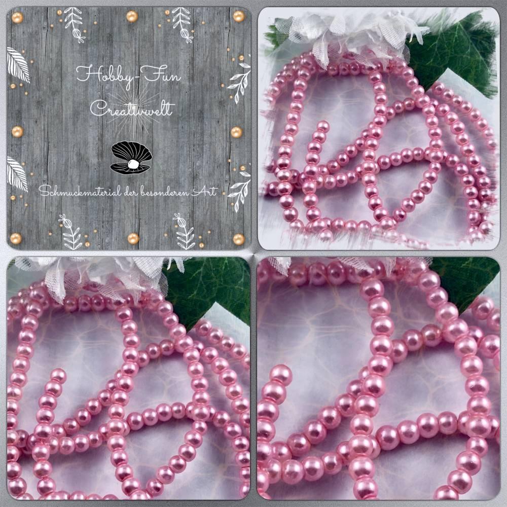 Glaswachsperlen, Pink, ca. 6,5mm Bild 1
