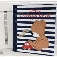 Ordner/Portfolio dunkelblau gemustert, Teddy mit Auto und Wunschname Bild 1