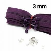 35-tlg. Set = 5 Meter Reißverschluss 3 mm + 10 Zipper + 20 Endstücke aubergine Bild 2
