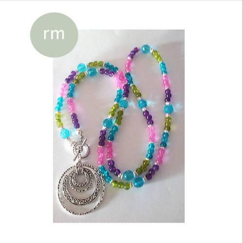 A LA BOHEME/lange kette/bunte kette/bettelkette/boho/hippie/kette/flower power/pastell/geschenk für sie/amulett