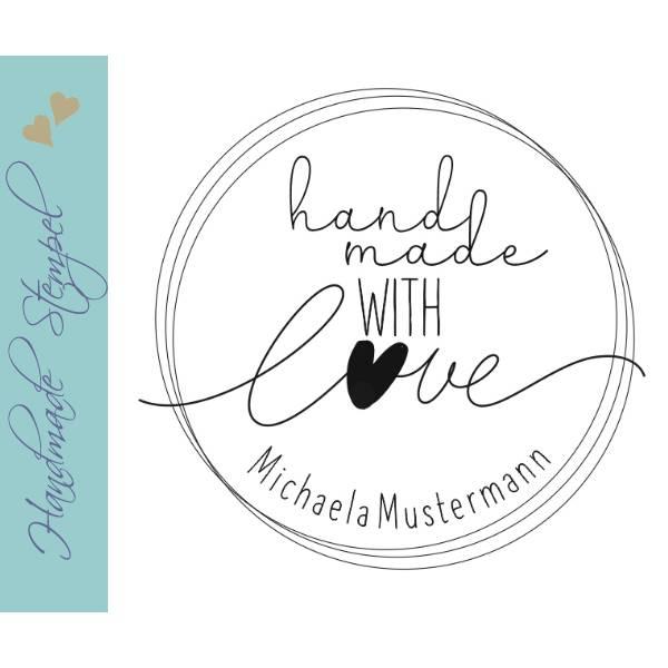 """Personalisierter Stempel mit Text: """"handmade with Love"""" Handmade Stempel - """"Handarbeit Stempel No.HO-100070 Bild 1"""
