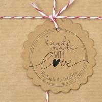 """Personalisierter Stempel mit Text: """"handmade with Love"""" Handmade Stempel - """"Handarbeit Stempel No.HO-100070 Bild 3"""