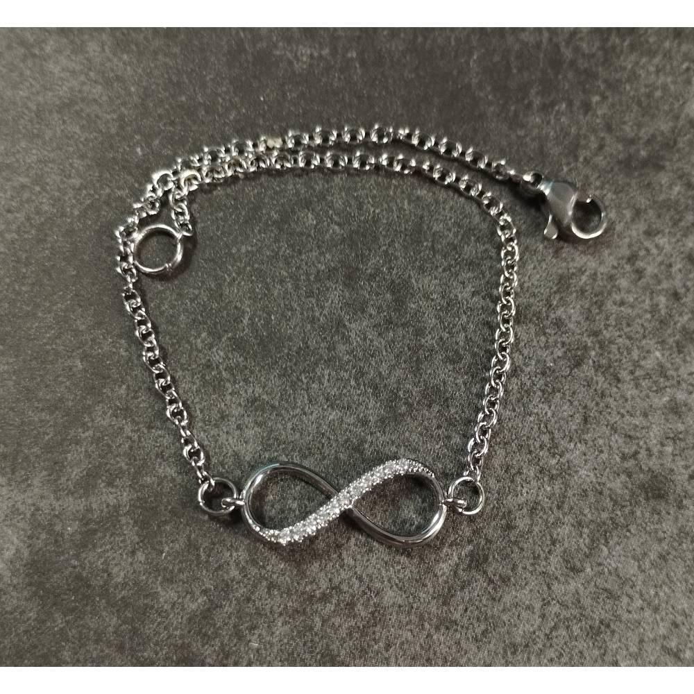 Armband Edelstahl mit Infinity Verbinder in silber - Unendlichkeitszeichen Bild 1