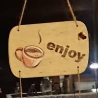 """Hängedeko """"enjoy coffee"""", Shabby-Chic, beige Bild 1"""