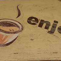 """Hängedeko """"enjoy coffee"""", Shabby-Chic, beige Bild 2"""