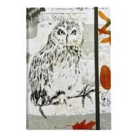 """Notizbuch Tagebuch Kladde """"Owl"""" A5 stoffbezogen Stoff Eule Geschenk GEscnenkidee Geschenkartikel Bild 2"""