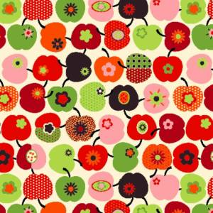 6,88 Euro /qm schöner Dekostoff Apfel Stoff 100% Baumwolle Äpfel Muster bunt Öko Tex 100 Webware 1 m x 1,60 m Bild 1