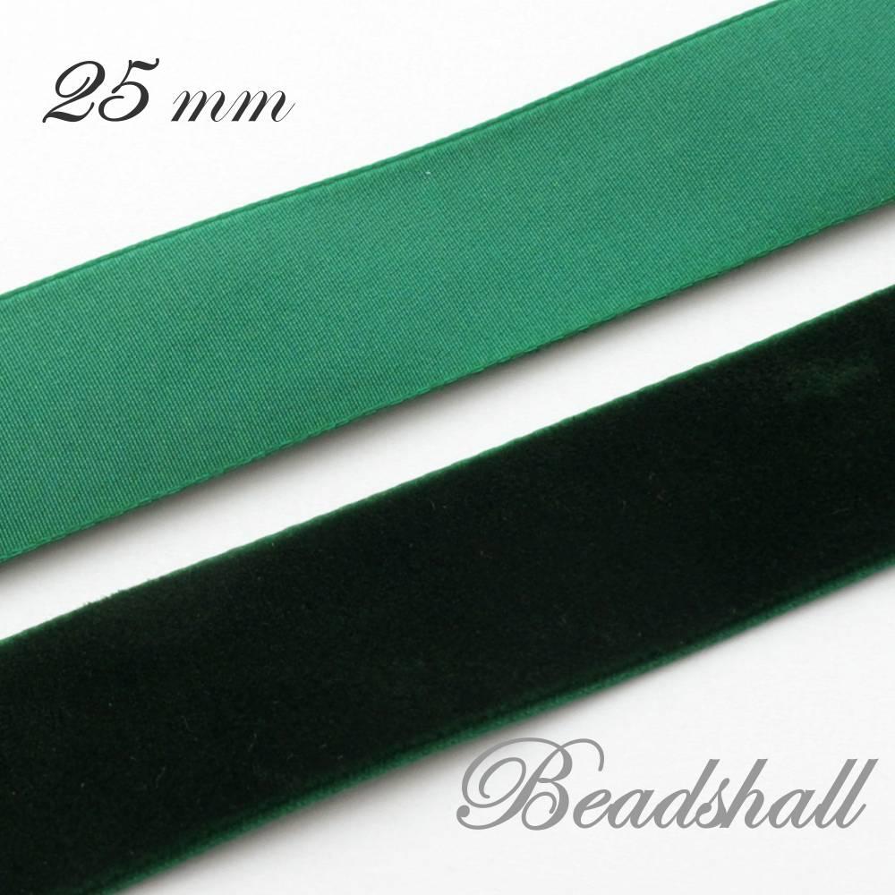 1 Meter edles Samtband 25 mm breit Farbe Dunkelgrün Bild 1