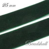 1 Meter edles Samtband 25 mm breit Farbe Dunkelgrün Bild 2
