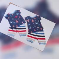 BabySet für Zwillinge Gr.80 Junge T-Shirt & kurze Hose Gr.80 Zwillingsset Gr.80 Sommer T-Shirt + kurze Hose  Sommerset Bild 1