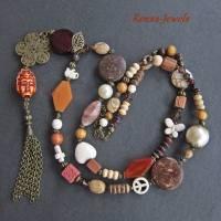 Bettelkette Perlen Kette lang Boho Kette Anhänger Edelstein Buddha Ethno bronzefarben Bild 2