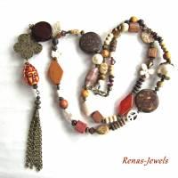 Bettelkette Perlen Kette lang Boho Kette Anhänger Edelstein Buddha Ethno bronzefarben Bild 3