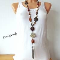 Bettelkette Perlen Kette lang Boho Kette Anhänger Edelstein Buddha Ethno bronzefarben Bild 4